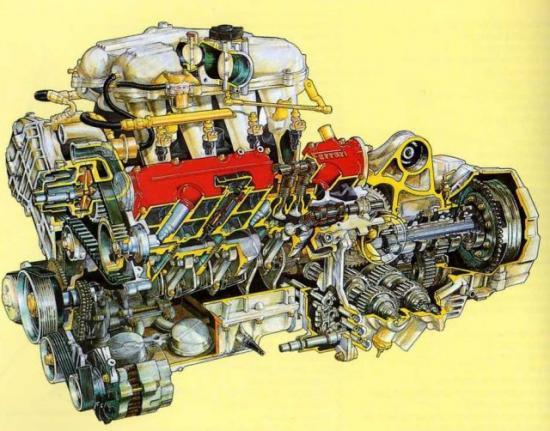 le moteur v8 de la 348